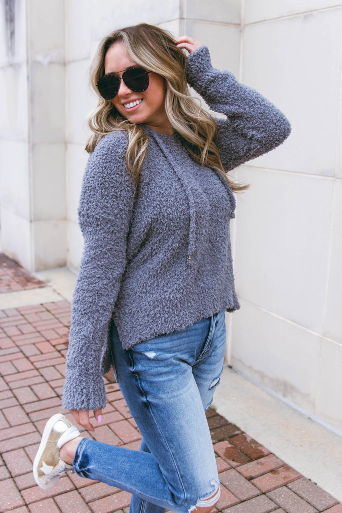 Women's Plush Grey Hoodie- Ultra Soft Fuzzy Hoodie- Barefoot Dreams Dupe- $46