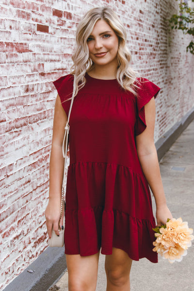 Wine Ruffled Dress- Women's Burgundy Dress- Flowy Dresses- $44