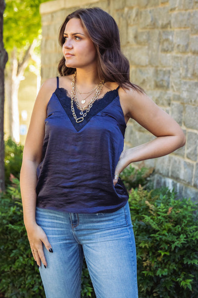 Slinky Navy Camisole- Women's Navy Blue Lace Cami- $30