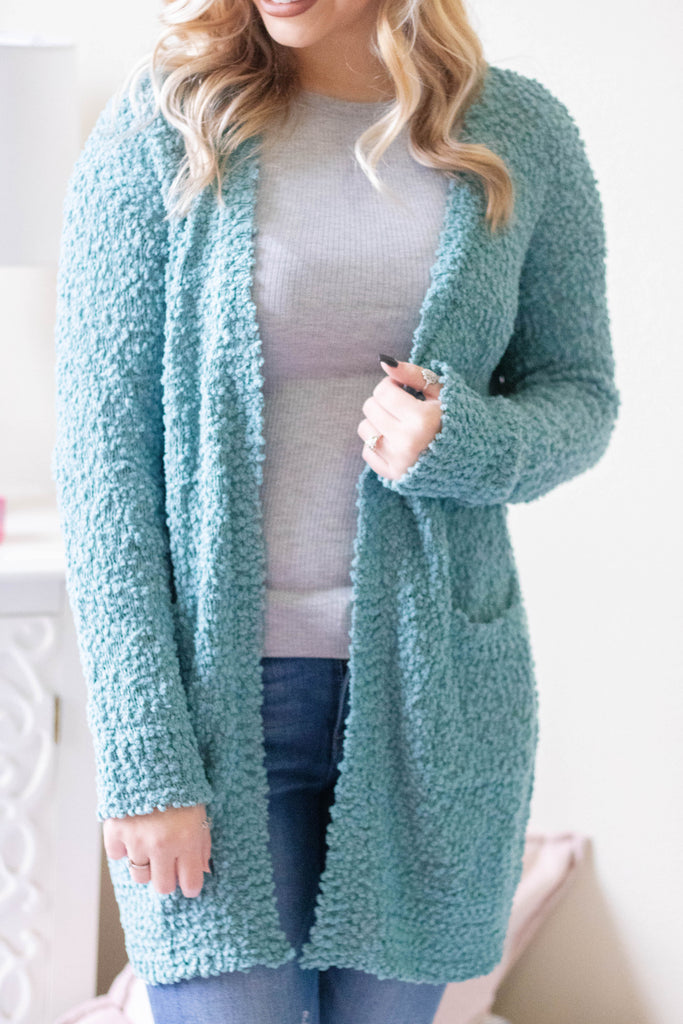 Cute Popcorn Cardigan- Teal Popcorn Cardigan- Super Soft Sweater- $40