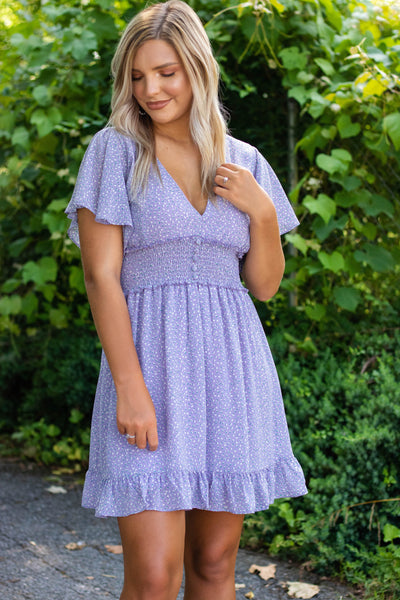 Women's Purple Dress- Ditzy Floral Print Dress- Women's V-Neck Dress- $42