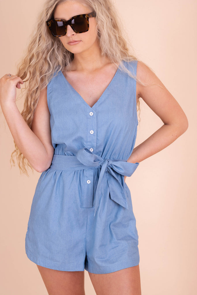 Cute Denim Romper- Women's Denim Chambray Romper- $38- Juliana's Boutique