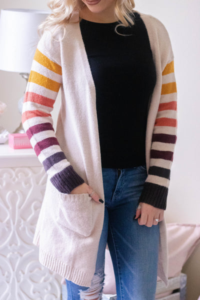 Cute Fall Cardigan- Women's Stripe Fall Cardigan- $45