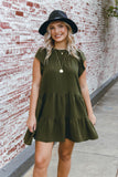 Olive Green Ruffled Dress- Women's Olive Green Dress- Flowy Dresses- $44