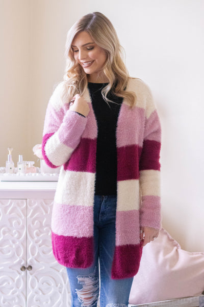 Women's Pink Stripe Cardigan- Women's Super Soft Pink Cardigan- $42