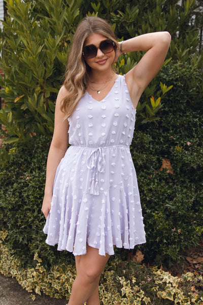 Women's White Swiss Dot Dress- Affordable Spring Summer Dresses- $42