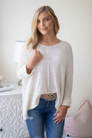 Ivory Oversized Knit Sweater- Women's Ivory Knit Sweater- $35- Affordable Online Women's Clothing Store