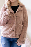 Trendy Brown Sherpa Jacket- Women's Sherpa Jacket- Women's Winter Coat- $34
