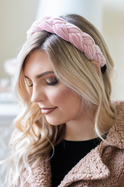 Blush Pink Braided Headband- Pink Velvet Headband- Women's Trendy Hair Accessories