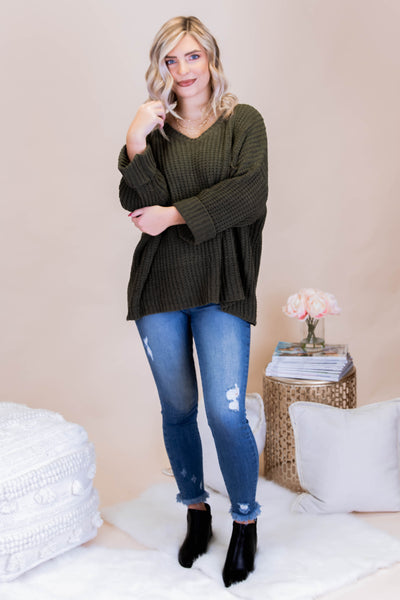 Oversized Chenille Knit Sweater- Cute Boxy Olive Green Sweater- $44