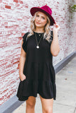Black Ruffled Dress- Women's Black Dress- Flowy Dresses- $44
