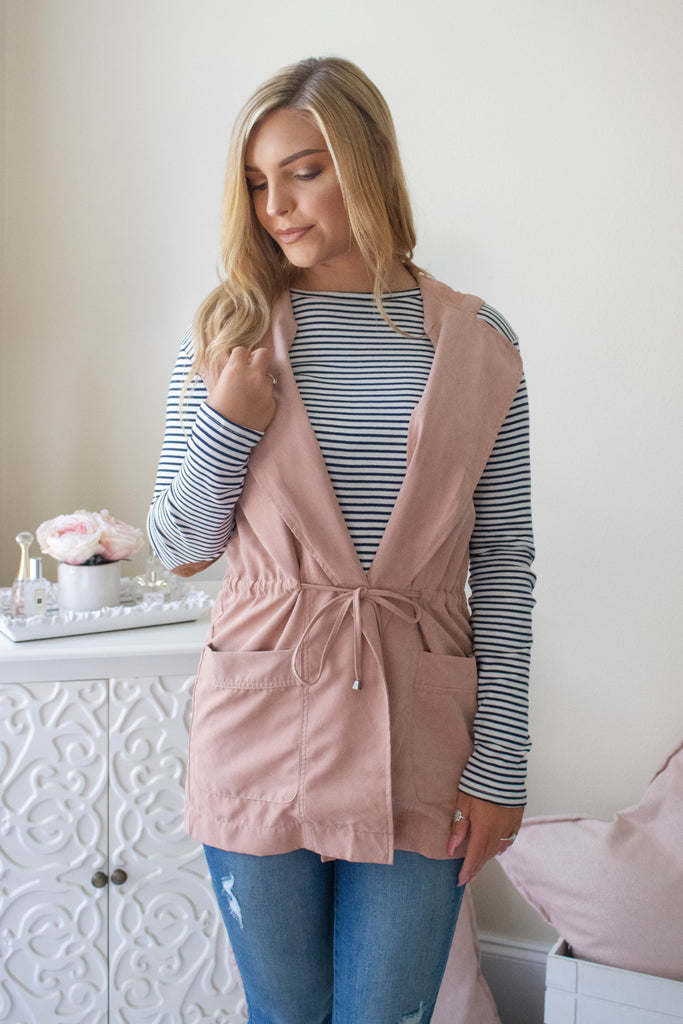 Stylish Pink Vest- Light Pink Vest With Hood- $32- Trendy Fall Outfits