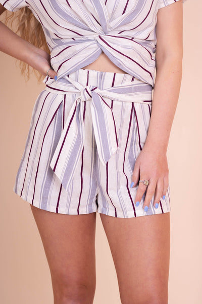 Cute Women's Two Piece Set- Striped Two Piece Set- Linen Tie Shorts- $28