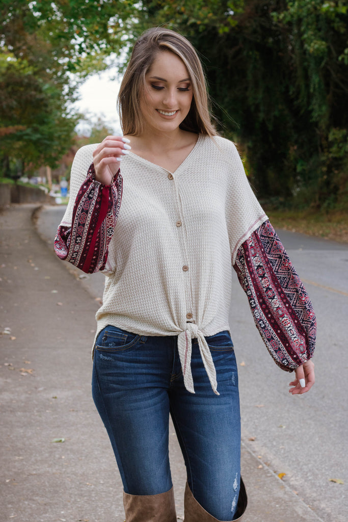 Boho Maroon Contrast Sleeve Top- Cute Tie Top- Free People Dupe- $38