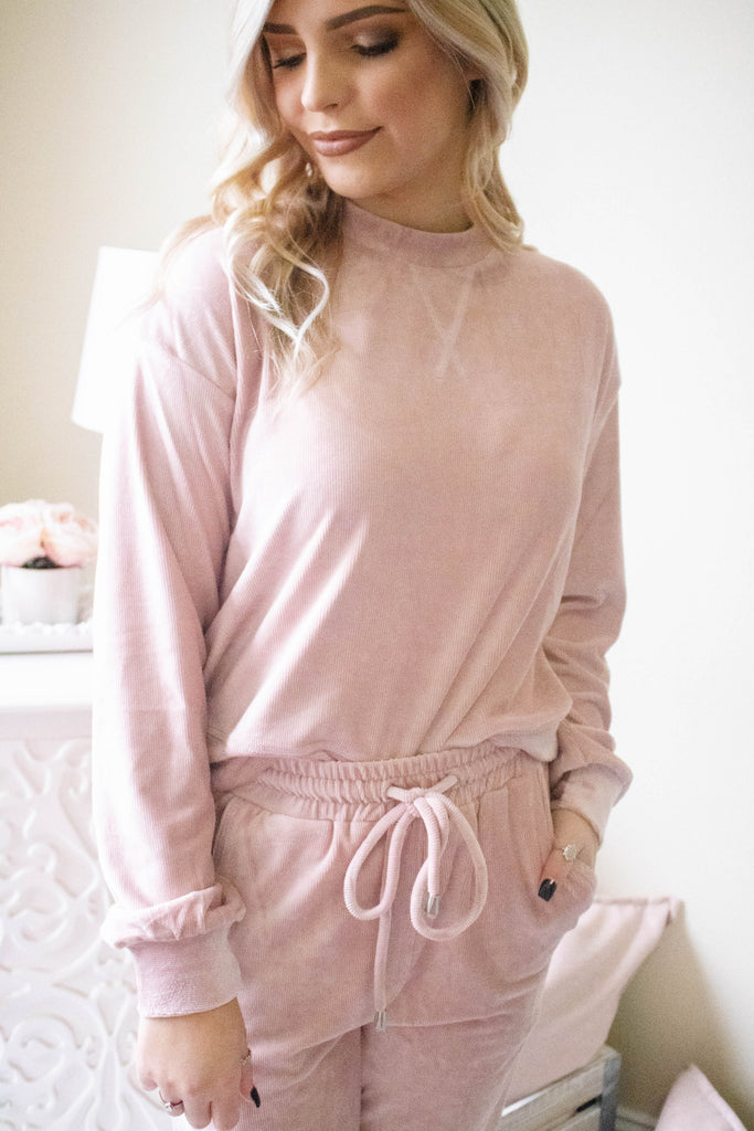Blush Pink Velour Pullover- Cute Pink Pullover- Trendy Velour Set- $32