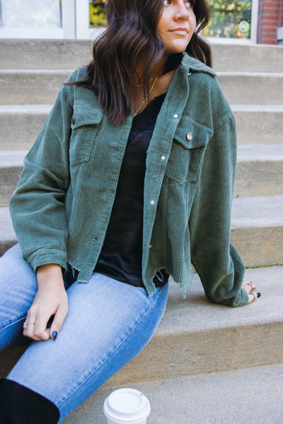 Women's Corduroy Jacket- Olive Corduroy Jacket- Oversized Boyfriend Fit Jacket- $52