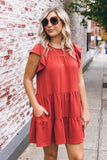 Rust Orange Ruffled Dress- Women's Rust Dress- Flowy Dresses- $44