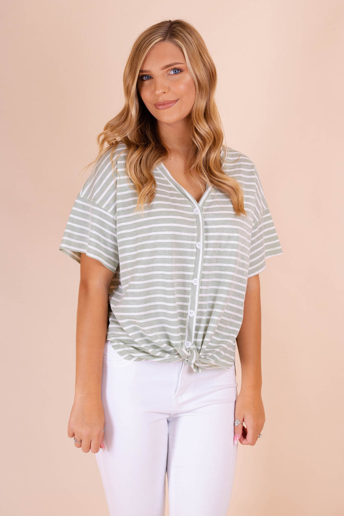 Light Sage Blouse- White And Green Striped Top- Women's Cute Work Wear- Juliana's Online Boutique