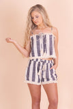 Cute Women's Two Piece Set- Striped Two Piece Set- Linen Crop Top- $26