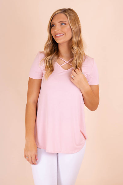 Cute Blush Pink Brown Top- Cross Front Top- $24- Juliana's Online Boutique