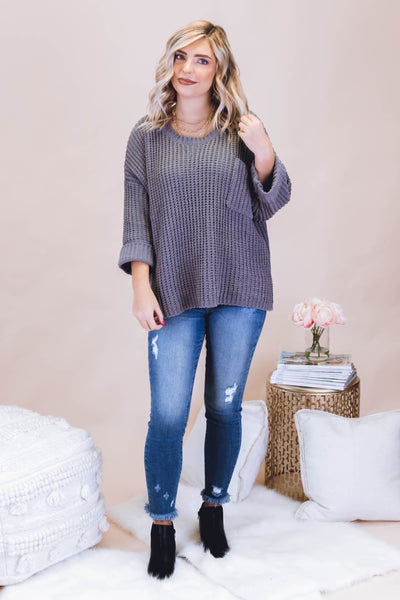 Oversized Chenille Knit Sweater- Cute Boxy Charcoal Sweater- $44