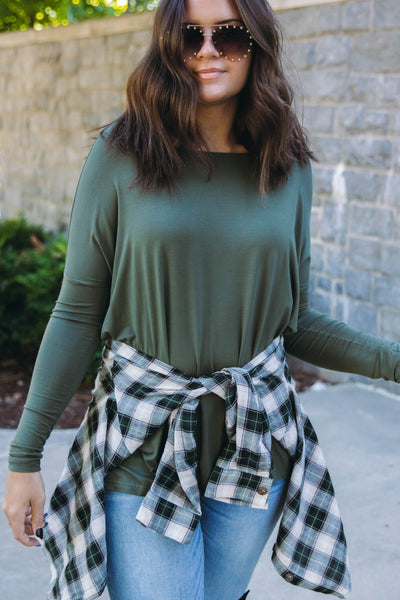 Olive Green Long Sleeve Piko Top- Women's Olive Piko Top- $28