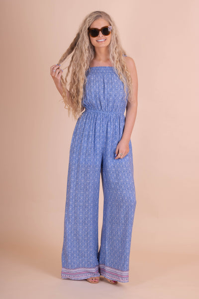 Cute Printed Jumpsuit- Pretty Women's Blue Jumpsuit- $38- Juliana's Boutique