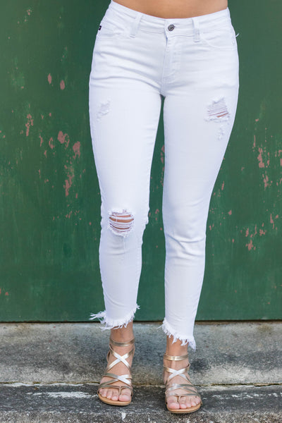 Distressed White Denim- White Denim Jeggings- Frayed Hem Jeans- $40
