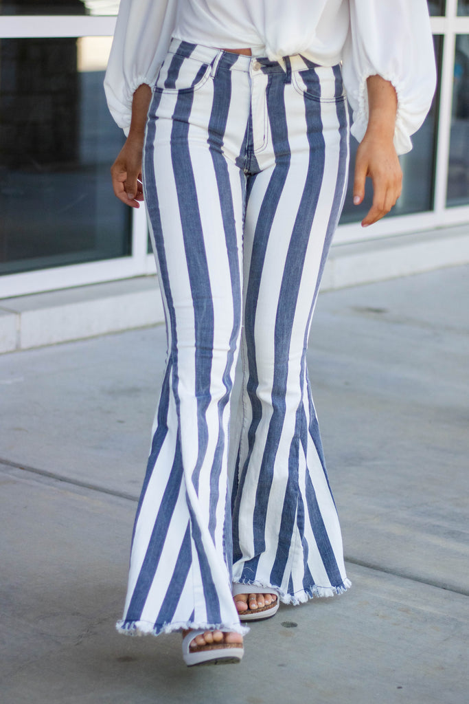 Blue And White Striped Denim Flares- Retro Denim Flares- Fun Striped Denim Flare Pants- $52