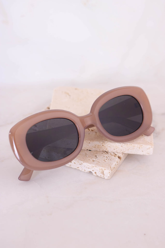 Cool Oval Sunglasses- Trendy Brown Sunglasses- Brown Oval Sunglasses- $14