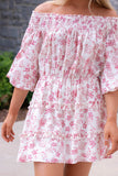 Pink And Red Floral Print Dress- Women's Off The Shoulder Dress- Cute Women's Dresses- $44