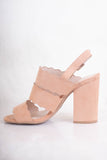 Platform Taupe Block Heels- Taupe Scalloped Heels- $34- Affordable Online Women's Boutique