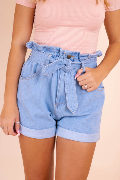 Women's Paper Bag Style Shorts- Mom Jeans- Women's High Waisted Denim Shorts- $42