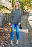 Women's Olive Green Super Soft Blouse- Women's Olive Green Tunic Top- $38