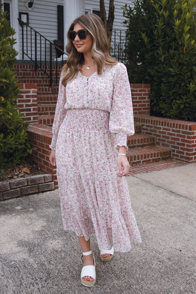 Blush Floral Midi Dress- Women's Cinched Waist Midi Dress- $48