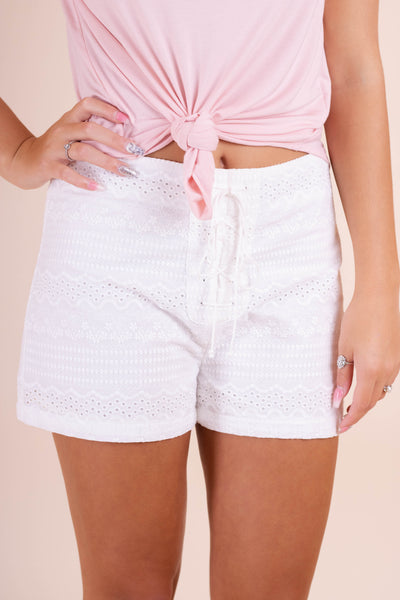 White Lace Shorts- Women's Cute White Shorts- $32- Juliana's Online Boutique