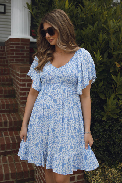Baby Blue Floral Dress- Smocked Chest Dress- Flutter Sleeves Dress- $42