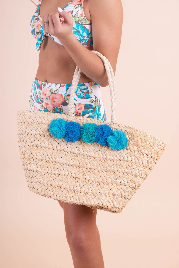 Colorful Woven Pom Tote- Blue Ombre Pom Pom Beach Bag- $32- Juliana's Boutique