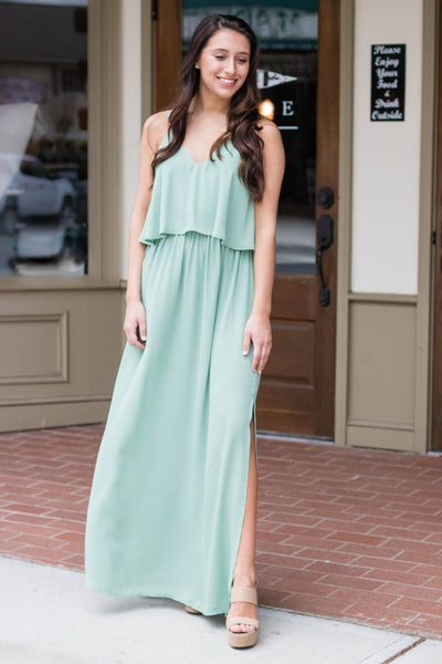 Simple Green Maxi Dress- Simple Bridesmaid Dress- $30- Juliana's Boutique