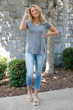 Cute Charcoal Grey Top- Cross Front Top- $24- Trendy Online Women's Boutique