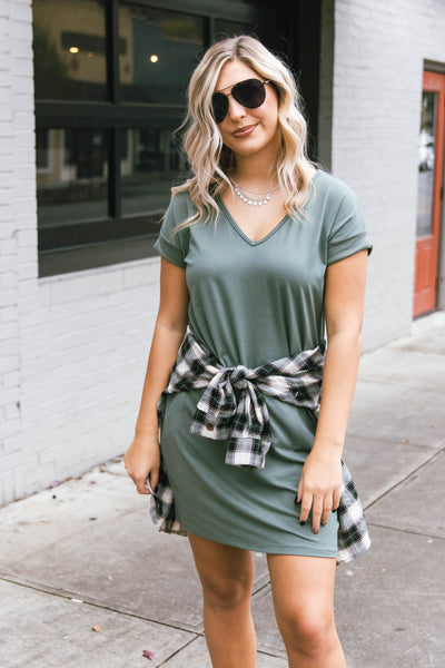Olive Green T-Shirt Dress- Women's Jersey Knit Dress- Cute Simple Dress- $30