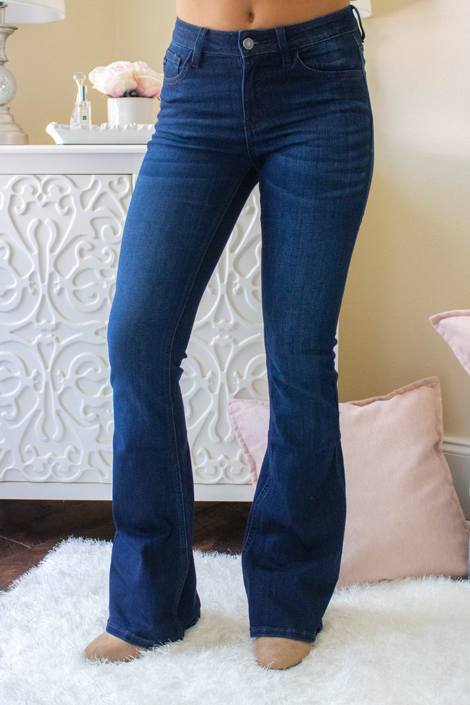 High Waisted Dark Denim Jeans- Women's Denim Flares- Kan Can Flare Jeans- $44