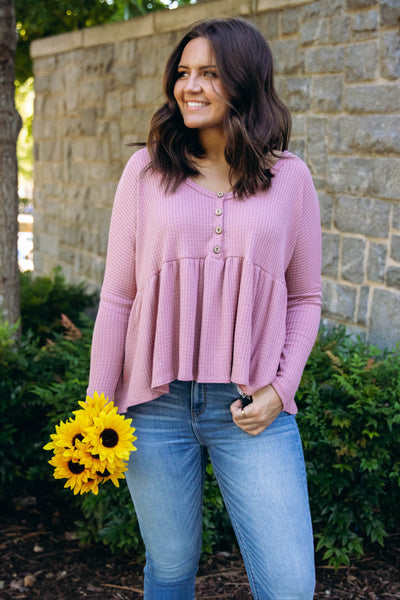 See The Real You Waffle Top-Mauve