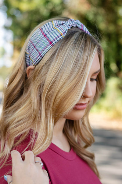 Women's Knotted Plaid Headband- Cute Preppy Headband- $12