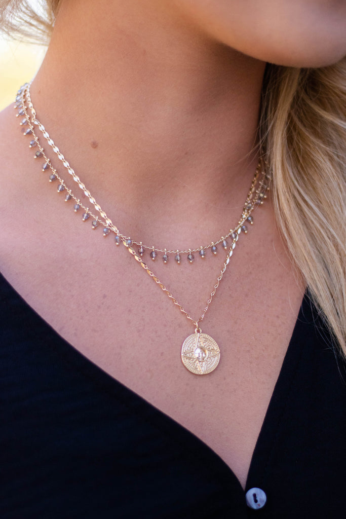 Women's Gold Layered Necklace- Women's Layered Charm Necklace- $16