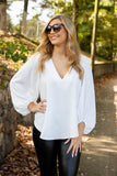 Women's White Blouse- Women's Cute V-Neck Blouse- $38