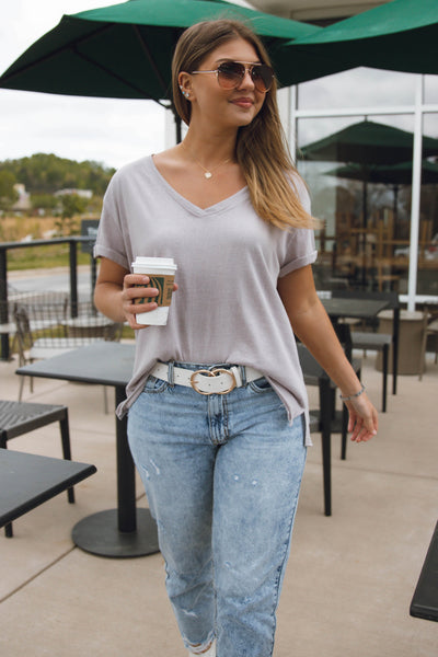 Women's Basic Grey Tee- Grey V-Neck T-Shirt- Women's Basic Tee- $26