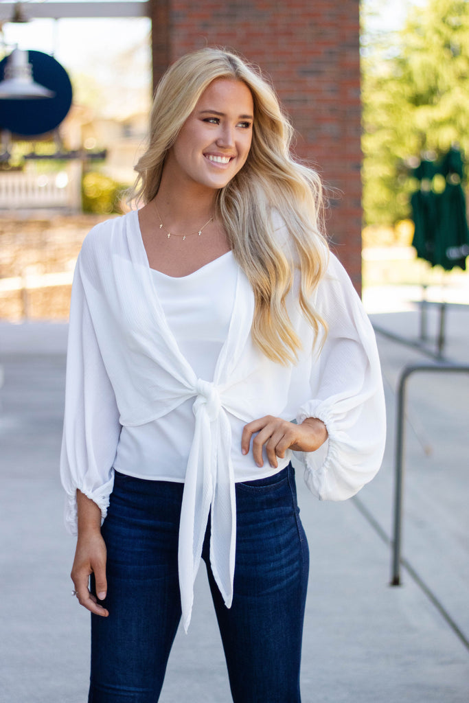Sexy White Print Tie Top- White Tie-Front Top- Long Sleeve Tie-Front Blouse- $38