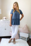 Solid Dark Blue Peplum Top- Women's Super Soft Blue Blouse- $28