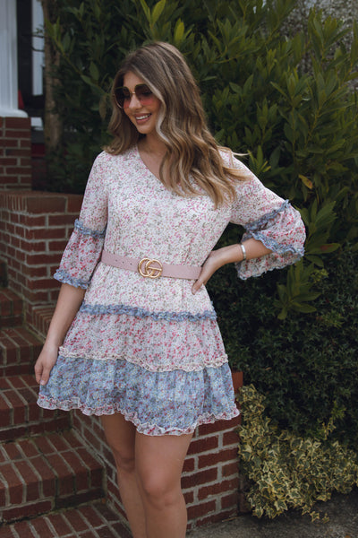 Dainty Floral Print Dress- Ruffle Floral Dress- Designer Dress For Less- $45